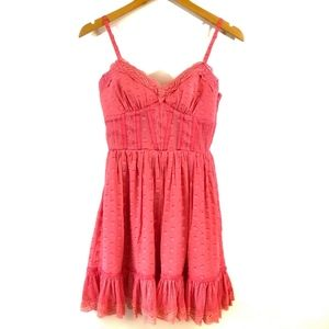 Bebe Pink Polka Dot Silk Lace Corset Dress Size XS